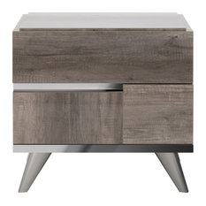 2 Drawers Wooden Frame Nightstand With Metal Trim Brown And Silver
