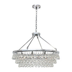 10-light Glass and Crystal Chandelier, 32in Diameter, Chrome
