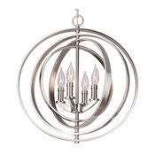 """Kira Home Orbits 18"""" 4-Light Sphere/Orb Pendant Chandelier,, 18"""" Brushed Nickel"""