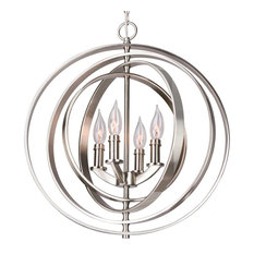 "Kira Home Orbits 18"" 4-Light Sphere/Orb Pendant Chandelier, Brushed Nickel"