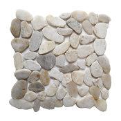 "12""x12"" White Shell Sliced Natural Stone Tiles, Set of 10"