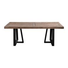 Alpine Furniture Prairie Rectangular Dining Table, Natural and Black 1568-01