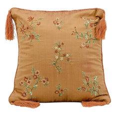 Mina Victory Silk Embroidery Paprika Throw Pillow