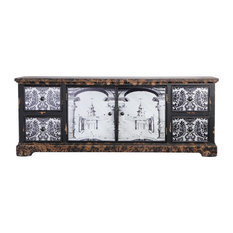 Antiqued Painted Wood Cabinet 57x16x22
