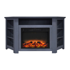 Stratford 56-inch Electric Corner Fireplace Slate Blue With Fireplace Display