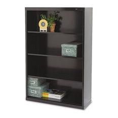 Metal Bookcase Four-Shelf 34-1/2Wx13-1/2Dx52-1/2H Black