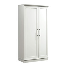 Tall Pantry Cabinet, 2 Doors With Bar Pull Handles and Adjustable Shelves, White
