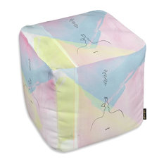 """Oliver Gal Maggie P Chang """"Make Love"""" Ottoman, 18""""x18"""""""