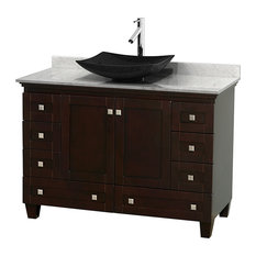 "48"" Acclaim Single Vanity, White Carrera Marble Top, Arista Black Granite Sink"