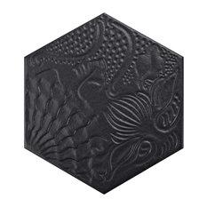 "8.63""x9.88"" Cornet Hex Porcelain Floor and Wall Tiles, Set of 25, Black"
