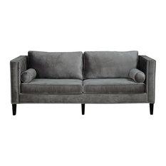 Silver Coast Company   Gray Velvet Sofa With Nailheads   Sofas