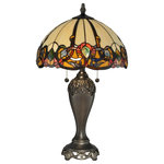 Dale Tiffany - Northlake Table Lamp - Ablaze with prismatic color, the Northlake table lamp is both artistic and functional. Almost 400 pieces of art glass, each piece hand rolled and individually set in copper foil, glow warmly on the dome shaped shade. The intense earthen tones in this lamp will beautifully accentuate any decor in your home or office. Delicate carving on the metal base's top and raised pedestal bottom signify the quality and artisanship you have come to expect from Dale Tiffany. The base is finished in a beautiful antique bronze finish.