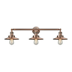 Railroad 3-Light Bath Fixture, Antique Copper/Antique Copper Railroad Shade