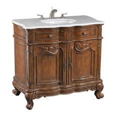 Brown Vanity Sink With White Marble