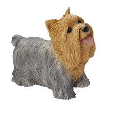 Grey Brown Yorkshire Puppy Dog Statue Sculpture Figurine