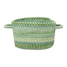 """Waterway Braided Basket, Green, 16""""x16""""x9"""""""