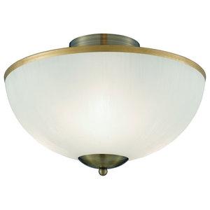 Brahama Antique Brass 3-Light Up Light White Glass Shade Brass Rim