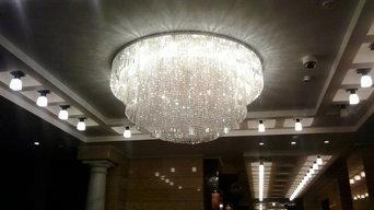 Изготовление больших потолочных люстр для холла ЖК Андреевский