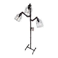 Industrial Floor Lamp, Galvanized Pipe