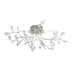 Willow 5-Light LED Flush Ceiling Light Chrome Glass Detail Trim