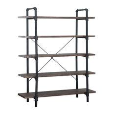 GDF Studio Clint Faux Wood Industrial Five Tier Shelf, Dark Brown/Texture Brown