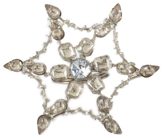 Holiday Champagne Jeweled Snowflake Design Napkin Rings - Set of 4