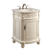 Elegant Lighting Singature 1-Door Vanity Cabinet, Antique White, Antique White,