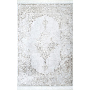 Nuloom Fading Floral Fringe Area Rug Ivory Contemporary