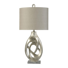 Champagne Silver, Transitional Crystal Accented Table Lamp, Hardback Shade
