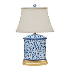 Blue and White Bamboo Leave Table Lamp