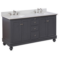"Bella 60"" Bath Vanity, Base: Charcoal Gray, Top: Quartz, Double Vanity"