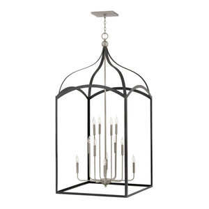 Hinkley Clarendon Chandelier Extra Large Three Tier Open Frame, Aged Zinc