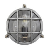 Bulkhead Outdoor & Bathroom Round Light - 8 Inch - Gunmetal, Side Wiring