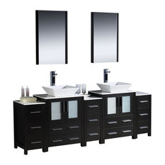 "84"" Double Vanity With Side Cabinets, Espresso, White Ceramic Sink, FFT1044CH"