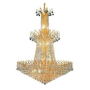 Elegant Lighting 8031G32G Victoria 18-Light 3 Tier Crystal Chandelier in Gold