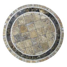"Monaco Mosaic Stone Round Coffee Table, 24"""