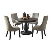 5-Piece Dakins Dining Set Round Table and 4 Chair, Rustic Brown