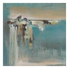 "Fragmented Fields Fine Art Giant Canvas Print, Blue, Gray, 54""X54"""
