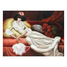 "Leandro Velasco ""Reclining Woman In Fur Housecoat"" Oil Painting"