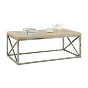 Coffee Table With Chrome Metal Base, Natural