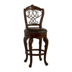 Swivel Counter Stool in Brown Cherry
