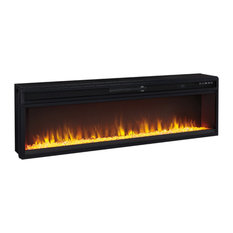 Contemporary Black Fireplace, Wide Insert