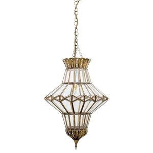 Abbas Brass Pendant, Clear Glass