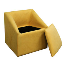 """20.75"""" Yellow Accent Chair With Storage"""