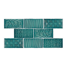 "3""x6"" Antiguo Sensations Ceramic Wall Tiles, Set of 8, Lava Verde"