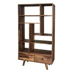 Oker Indian Rosewood 2-Drawer 9-Shelf Bookcase