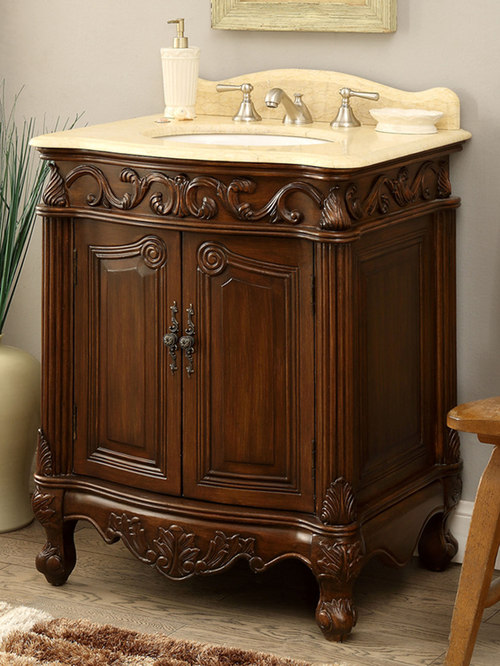 Beau 27 Inch Antique Bathroom Vanity Wood Finish   Baby And Kids