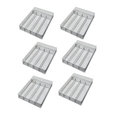 "YBM Home Silver Mesh 5-part Flatware Tray 12.5""x9.25""x2"", 6-Pack"