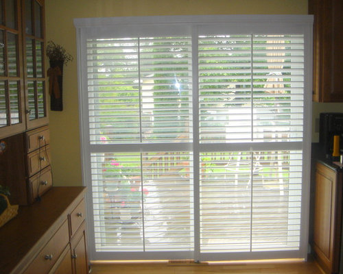 Plantation shutters on sliding glass doors for Bifold interior window shutters