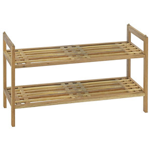 Traditional Shoe Rack, Solid Walnut Wood With 2 Open Shelves, Natural Oak Oil
